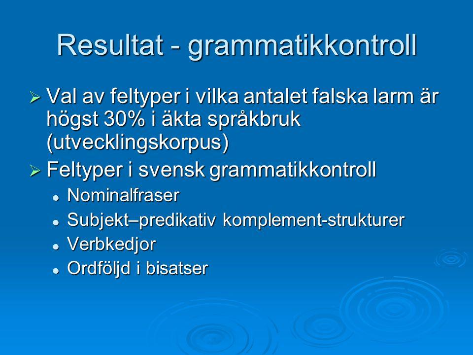 Resultat - grammatikkontroll  Val av feltyper i vilka antalet falska larm är högst 30% i äkta språkbruk (utvecklingskorpus)  Feltyper i svensk gramm