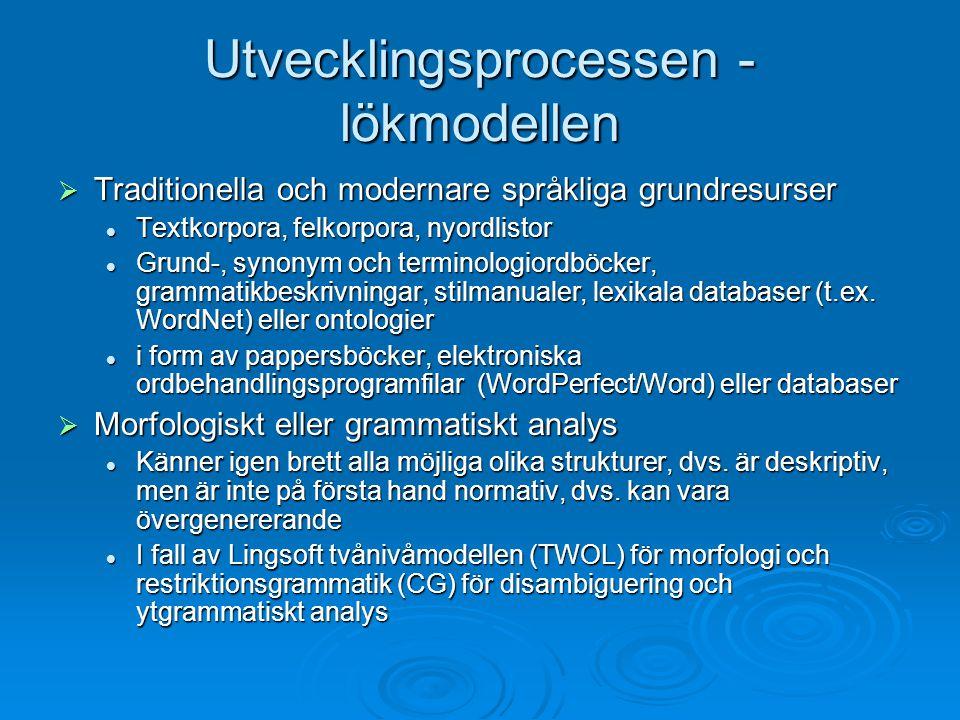 Utvecklingsprocessen - lökmodellen  Traditionella och modernare språkliga grundresurser Textkorpora, felkorpora, nyordlistor Textkorpora, felkorpora,