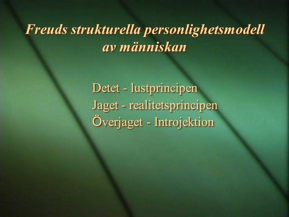 Freuds strukturella personlighetsmodell av människan Detet - lustprincipen Jaget - realitetsprincipen Ö verjaget - Introjektion Detet - lustprincipen