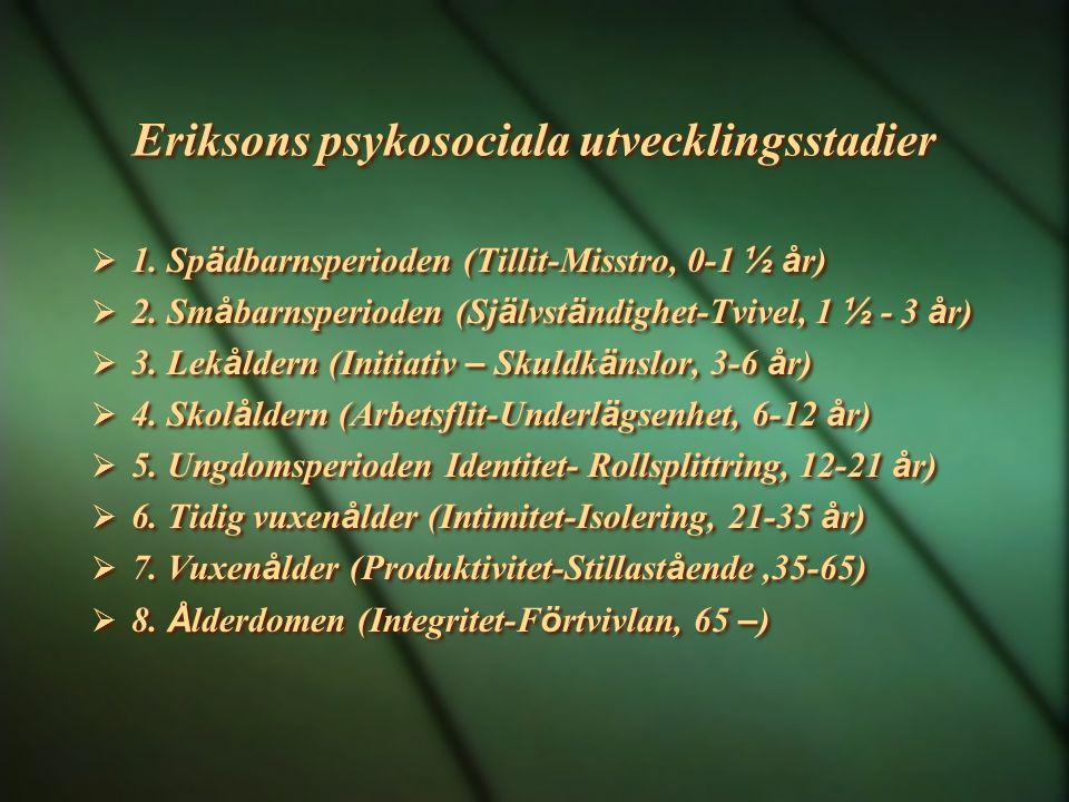 Eriksons psykosociala utvecklingsstadier  1. Sp ä dbarnsperioden (Tillit-Misstro, 0-1 ½ å r)  2. Sm å barnsperioden (Sj ä lvst ä ndighet-Tvivel, 1 ½