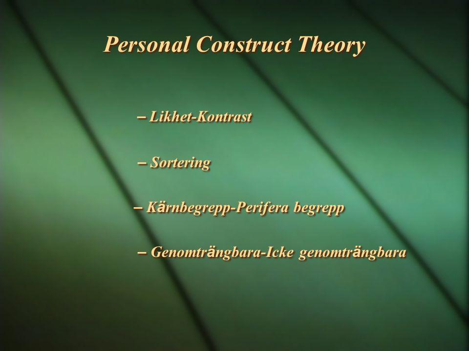 Personal Construct Theory – Likhet-Kontrast – Sortering – K ä rnbegrepp-Perifera begrepp – Genomtr ä ngbara-Icke genomtr ä ngbara – Likhet-Kontrast –