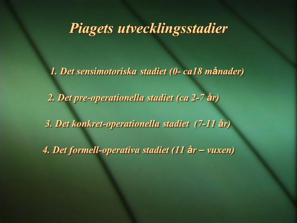Piagets utvecklingsstadier 1. Det sensimotoriska stadiet (0- ca18 m å nader) 2. Det pre-operationella stadiet (ca 2-7 å r) 3. Det konkret-operationell