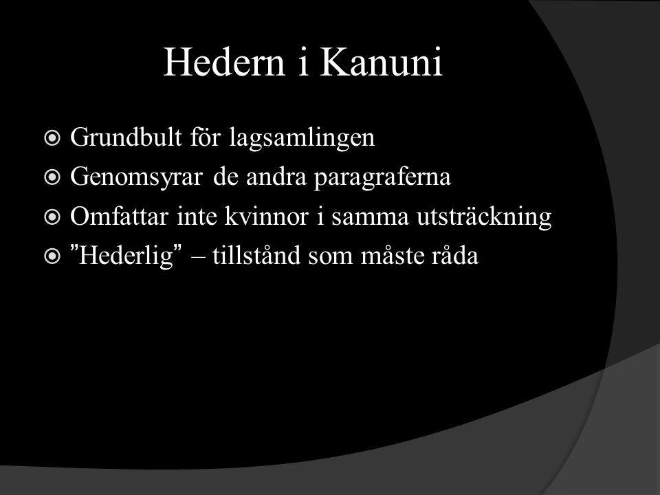 Hedern i Kanuni  Grundbult för lagsamlingen  Genomsyrar de andra paragraferna  Omfattar inte kvinnor i samma utsträckning  Hederlig – tillstånd som måste råda