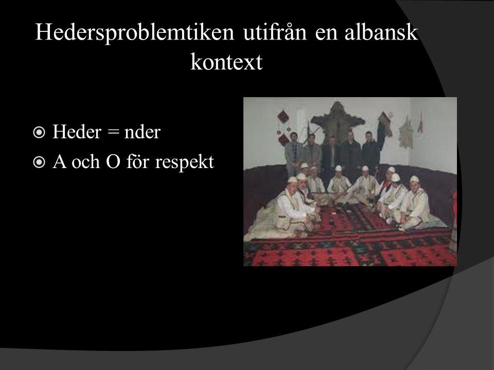 Hedersproblemtiken utifrån en albansk kontext  Heder = nder  A och O för respekt