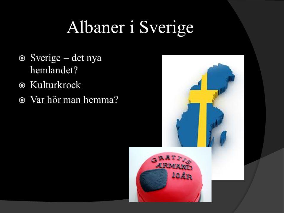 Albaner i Sverige  Sverige – det nya hemlandet?  Kulturkrock  Var hör man hemma?