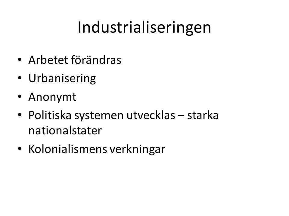 Industrialiseringen Arbetet förändras Urbanisering Anonymt Politiska systemen utvecklas – starka nationalstater Kolonialismens verkningar