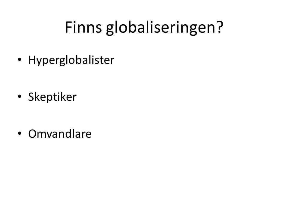 Finns globaliseringen? Hyperglobalister Skeptiker Omvandlare