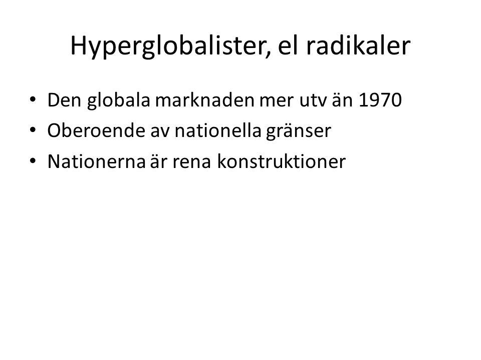 Hyperglobalister, el radikaler Den globala marknaden mer utv än 1970 Oberoende av nationella gränser Nationerna är rena konstruktioner