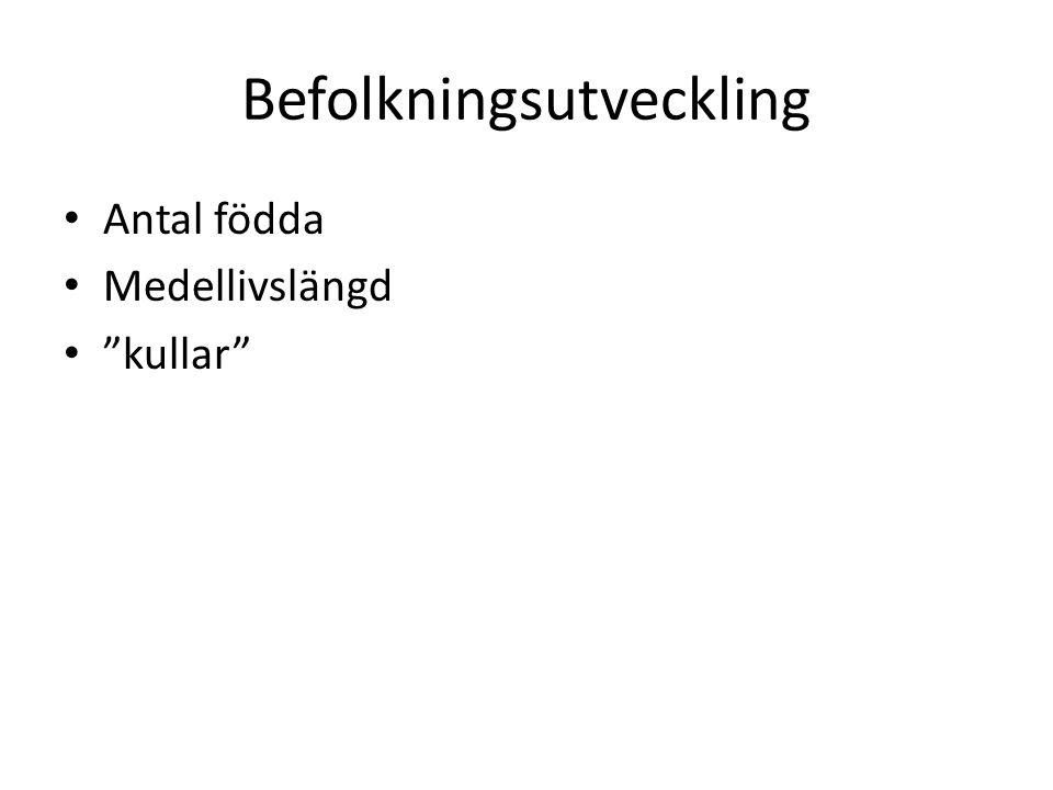 """Befolkningsutveckling Antal födda Medellivslängd """"kullar"""""""
