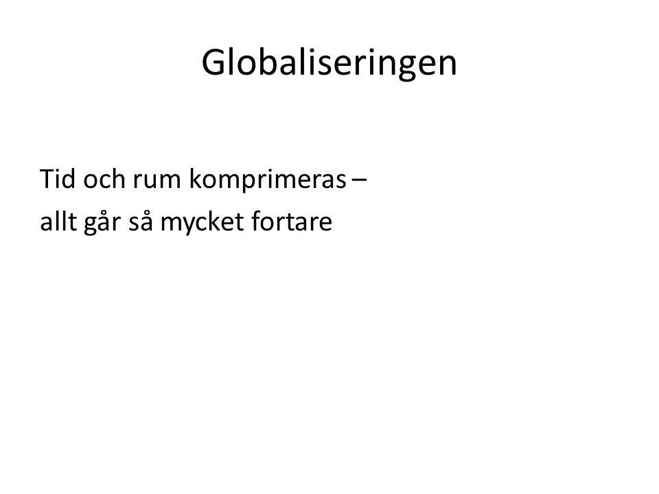 Globaliseringen Tid och rum komprimeras – allt går så mycket fortare