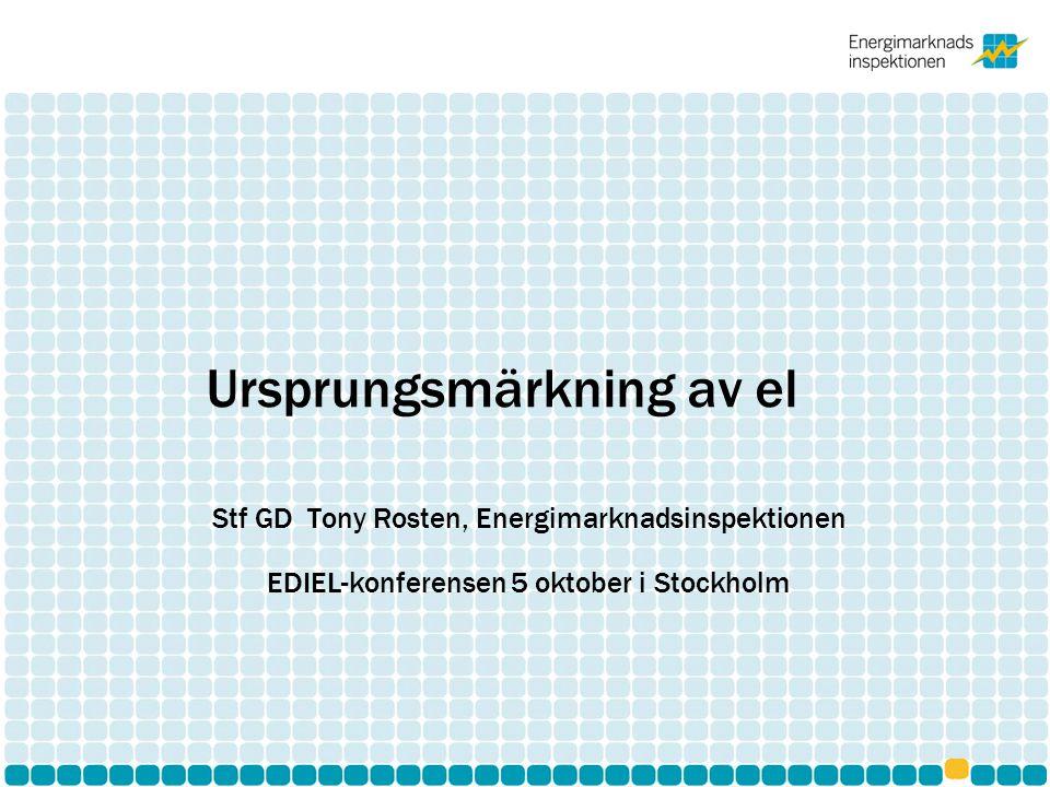Bakgrund Kravet på ursprungsmärkning kommer från Elmarknadsdirektivet Regeringsuppdrag i oktober 2010 : inom ramen för befintligt regelverk pröva att åstadkomma en frivillig branschlösning för att samordna regelverken för ursprungsgarantier och ursprungsmärkning av el.