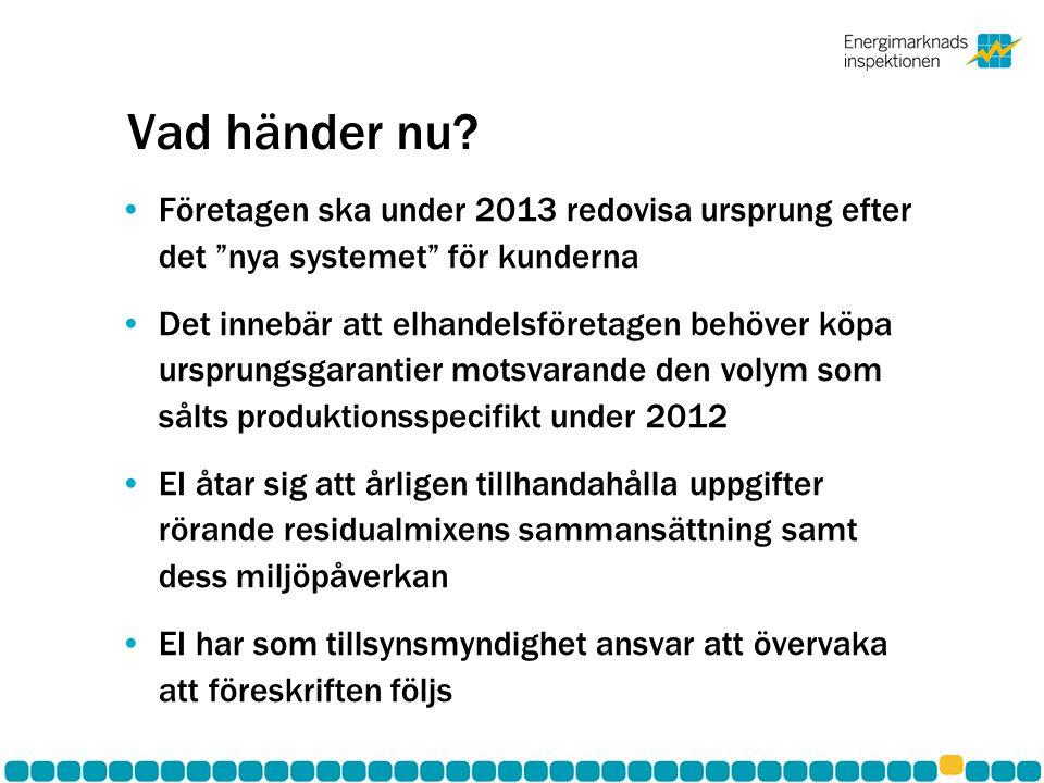 """Vad händer nu? Företagen ska under 2013 redovisa ursprung efter det """"nya systemet"""" för kunderna Det innebär att elhandelsföretagen behöver köpa urspru"""