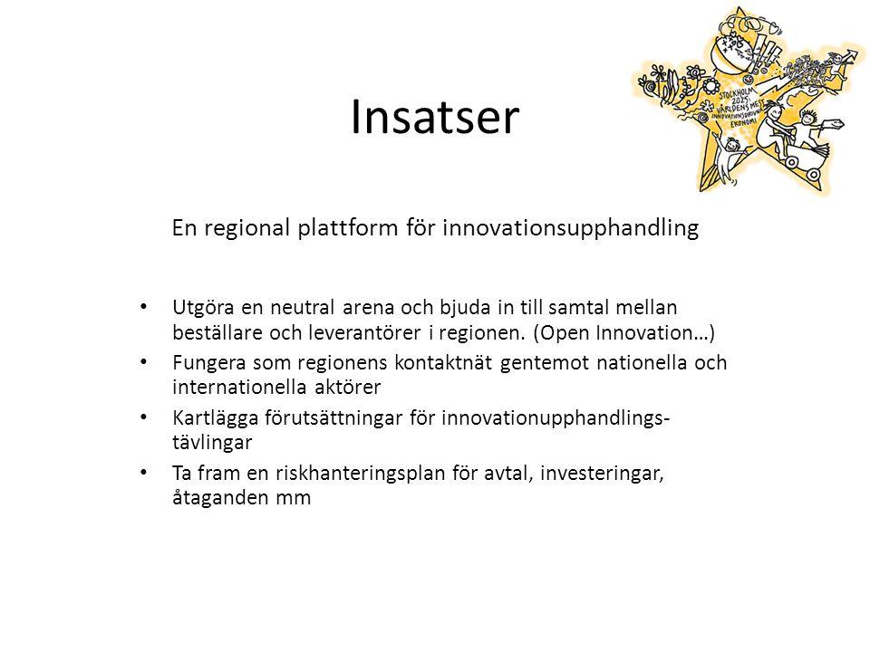 Insatser En regional plattform för innovationsupphandling Utgöra en neutral arena och bjuda in till samtal mellan beställare och leverantörer i regionen.