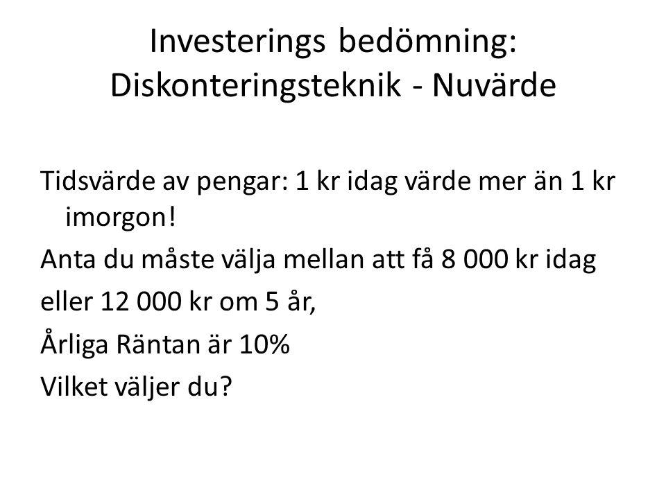 Investerings bedömning: Diskonteringsteknik - Nuvärde Tidsvärde av pengar: 1 kr idag värde mer än 1 kr imorgon! Anta du måste välja mellan att få 8 00