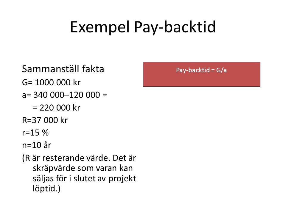 Pay-backtid = G/a Exempel Pay-backtid Sammanställ fakta G= 1000 000 kr a= 340 000–120 000 = = 220 000 kr R=37 000 kr r=15 % n=10 år (R är resterande v