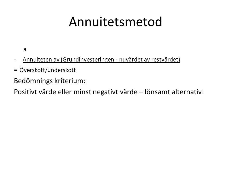 Annuitetsmetod a -Annuiteten av (Grundinvesteringen - nuvärdet av restvärdet) = Överskott/underskott Bedömnings kriterium: Positivt värde eller minst