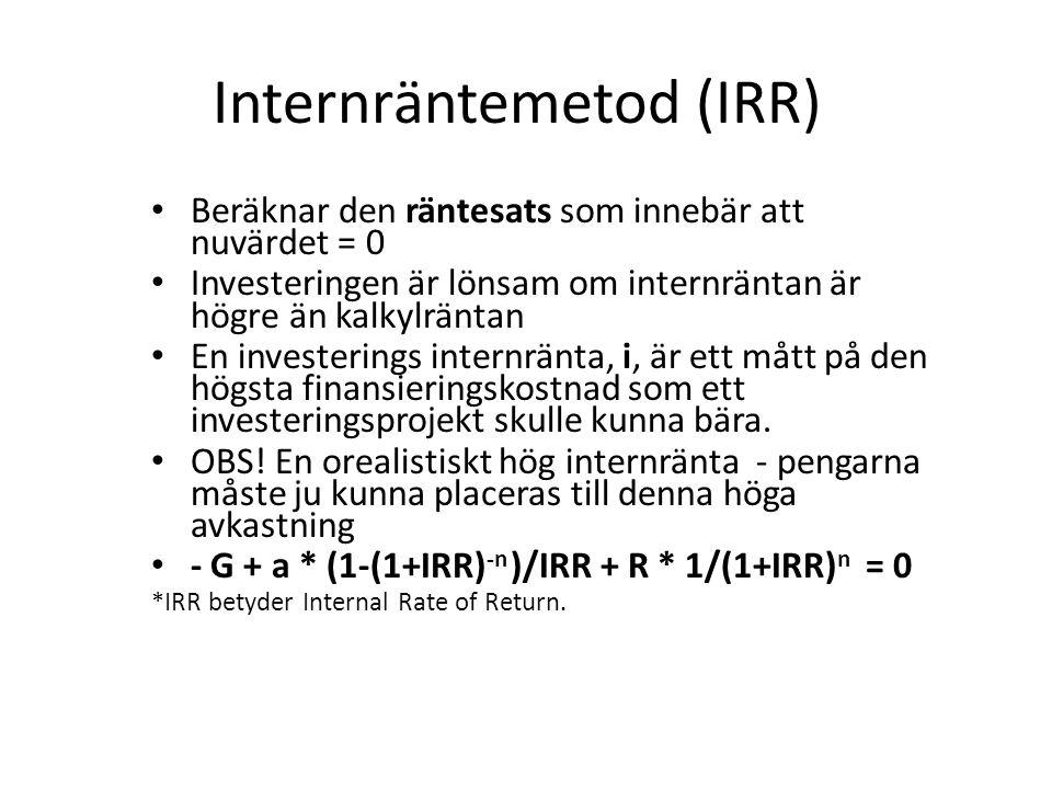 Internräntemetod (IRR) Beräknar den räntesats som innebär att nuvärdet = 0 Investeringen är lönsam om internräntan är högre än kalkylräntan En investe