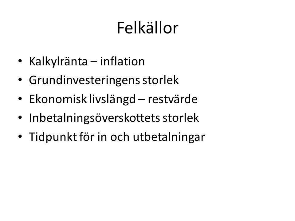 Felkällor Kalkylränta – inflation Grundinvesteringens storlek Ekonomisk livslängd – restvärde Inbetalningsöverskottets storlek Tidpunkt för in och utb