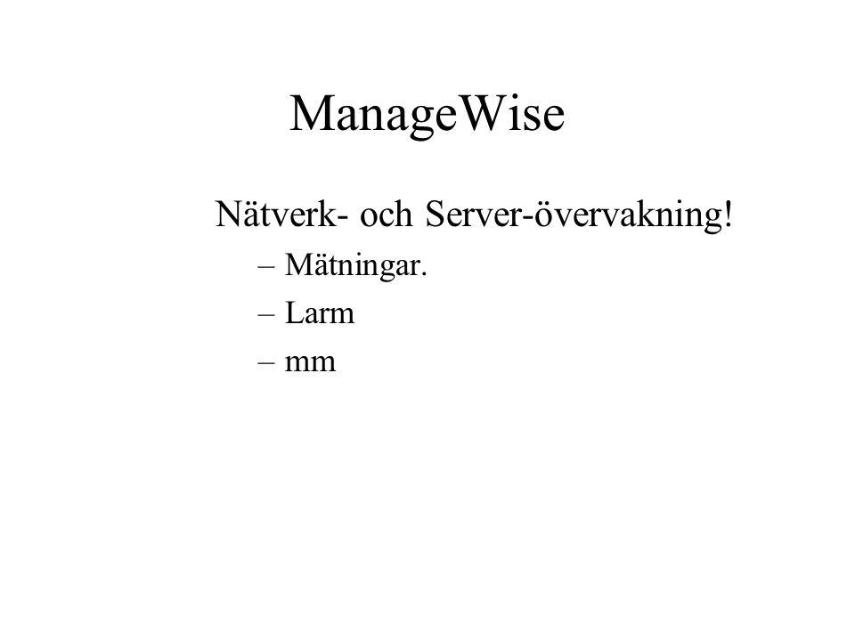 ManageWise Nätverk- och Server-övervakning! –Mätningar. –Larm –mm
