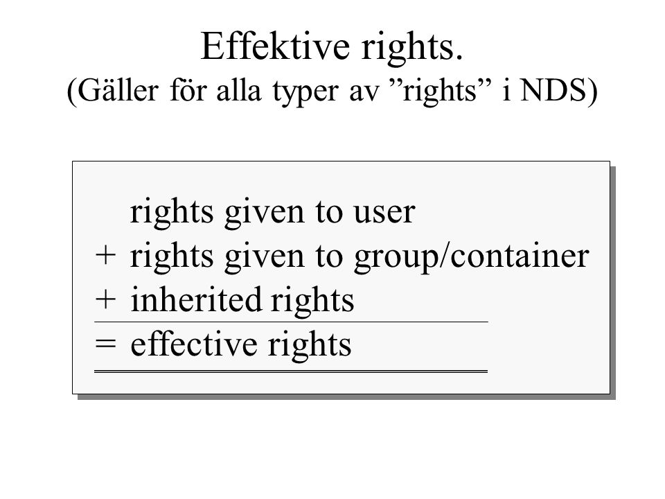 "rights given to user +rights given to group/container + inherited rights = effective rights Effektive rights. (Gäller för alla typer av ""rights"" i NDS"