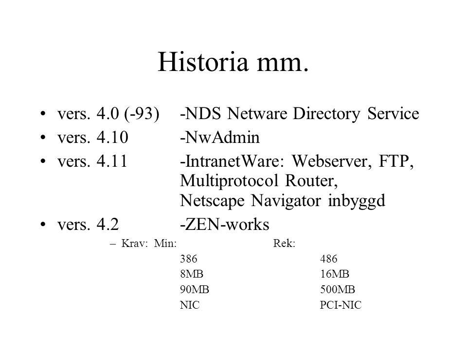 Historia mm.vers. 4.0 (-93)-NDS Netware Directory Service vers.