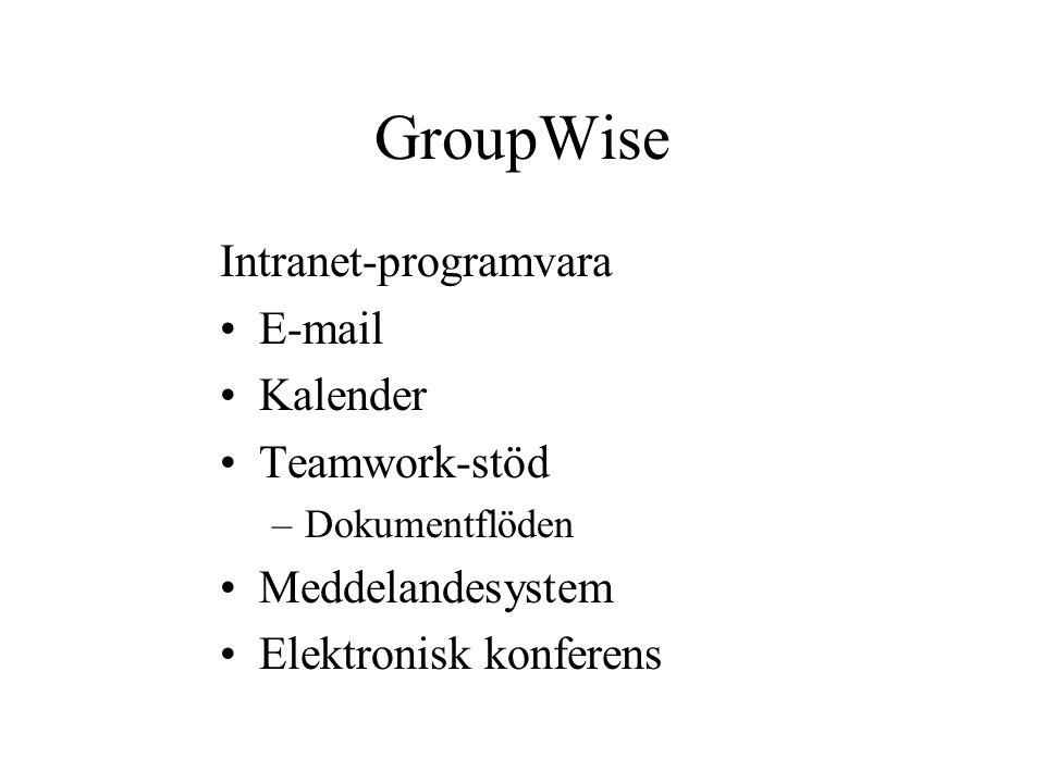 GroupWise Intranet-programvara E-mail Kalender Teamwork-stöd –Dokumentflöden Meddelandesystem Elektronisk konferens