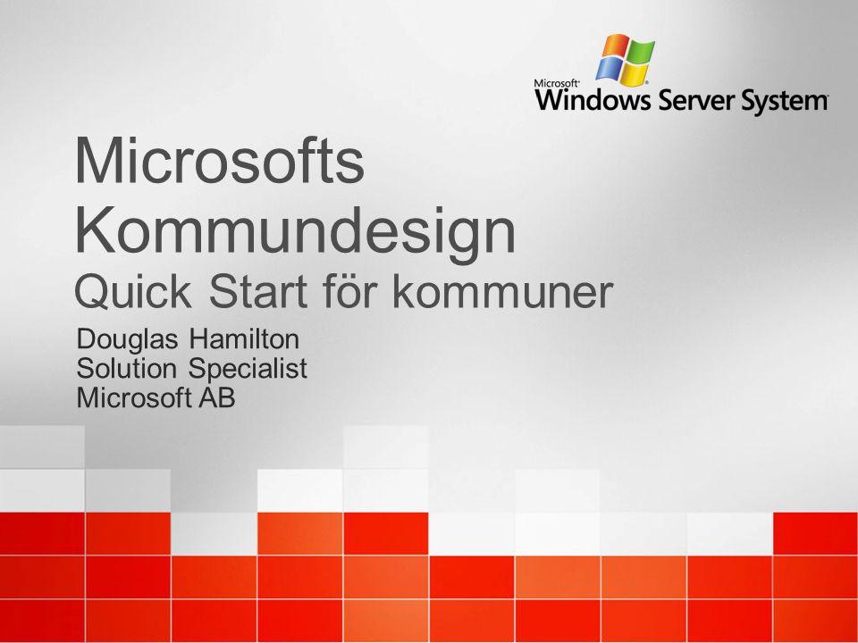 Microsofts Kommundesign Quick Start för kommuner Douglas Hamilton Solution Specialist Microsoft AB