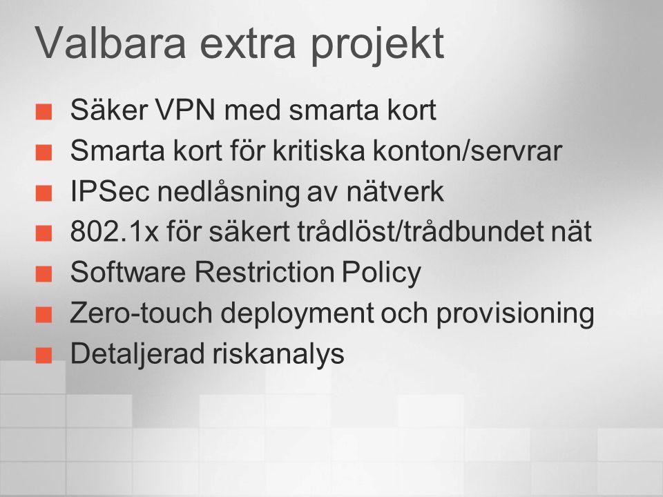 Valbara extra projekt Säker VPN med smarta kort Smarta kort för kritiska konton/servrar IPSec nedlåsning av nätverk 802.1x för säkert trådlöst/trådbundet nät Software Restriction Policy Zero-touch deployment och provisioning Detaljerad riskanalys