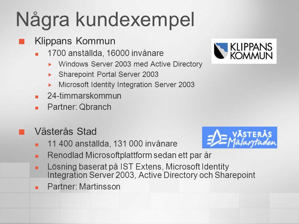 Några kundexempel Klippans Kommun 1700 anställda, 16000 invånare  Windows Server 2003 med Active Directory  Sharepoint Portal Server 2003  Microsof