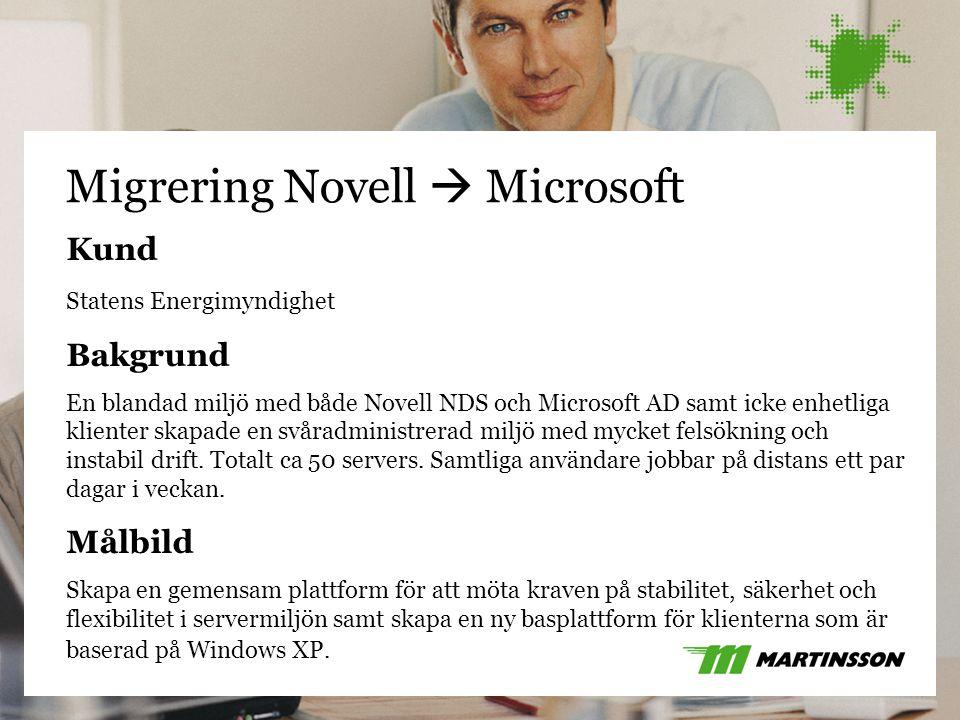 24 Migrering Novell  Microsoft Kund Statens Energimyndighet Bakgrund En blandad miljö med både Novell NDS och Microsoft AD samt icke enhetliga klient