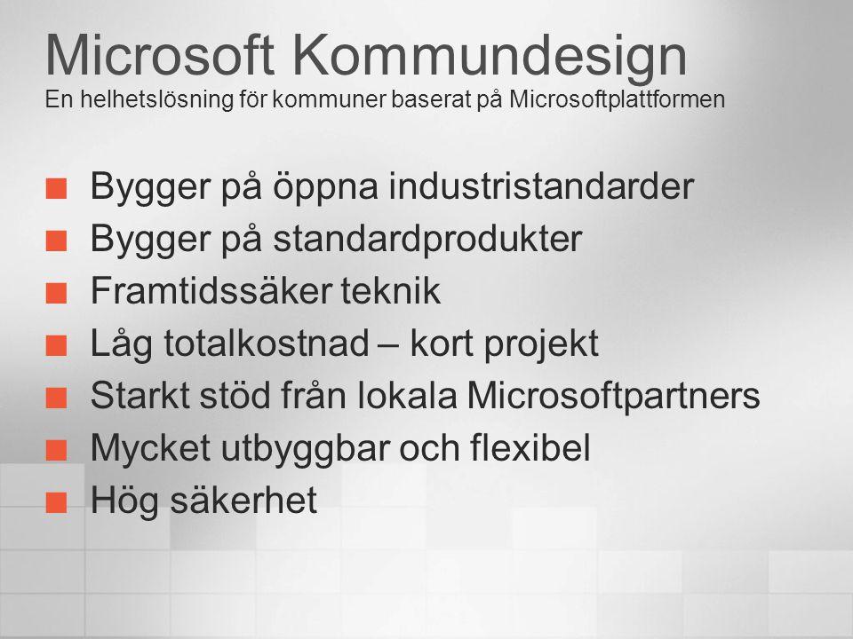 Microsoft Kommundesign En helhetslösning för kommuner baserat på Microsoftplattformen Bygger på öppna industristandarder Bygger på standardprodukter F