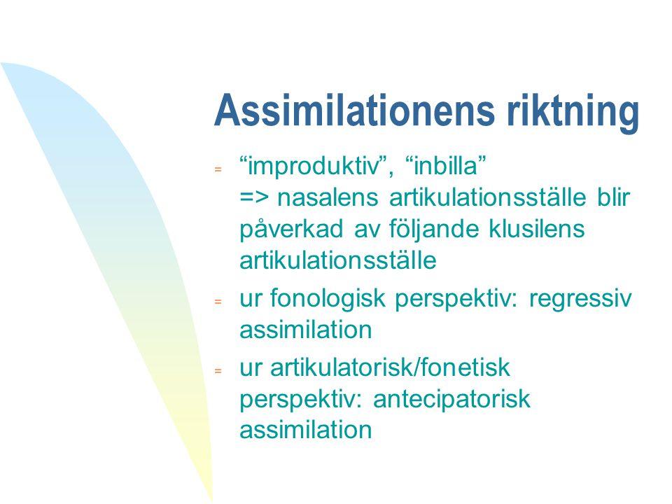 """Assimilationens riktning  """"improduktiv"""", """"inbilla"""" => nasalens artikulationsställe blir påverkad av följande klusilens artikulationsställe = ur fonol"""