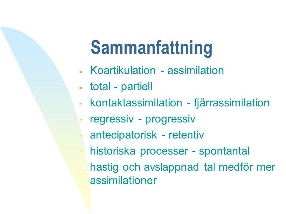 Sammanfattning = Koartikulation - assimilation = total - partiell = kontaktassimilation - fjärrassimilation = regressiv - progressiv = antecipatorisk