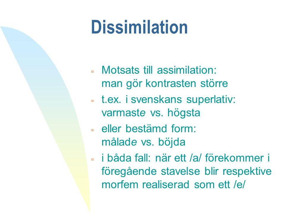 Dissimilation = Motsats till assimilation: man gör kontrasten större = t.ex. i svenskans superlativ: varmaste vs. högsta = eller bestämd form: målade