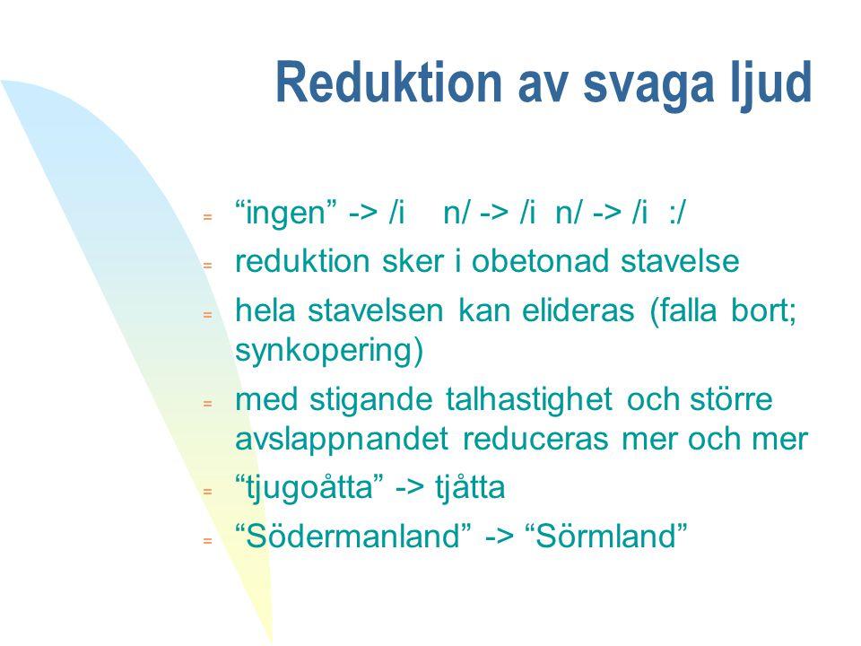 "Reduktion av svaga ljud  ""ingen"" -> /i n/ -> /i n/ -> /i :/ = reduktion sker i obetonad stavelse = hela stavelsen kan elideras (falla bort; synkoperi"