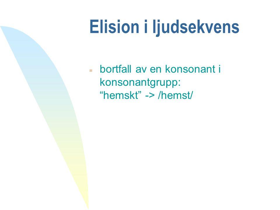 "Elision i ljudsekvens  bortfall av en konsonant i konsonantgrupp: ""hemskt"" -> /hemst/"