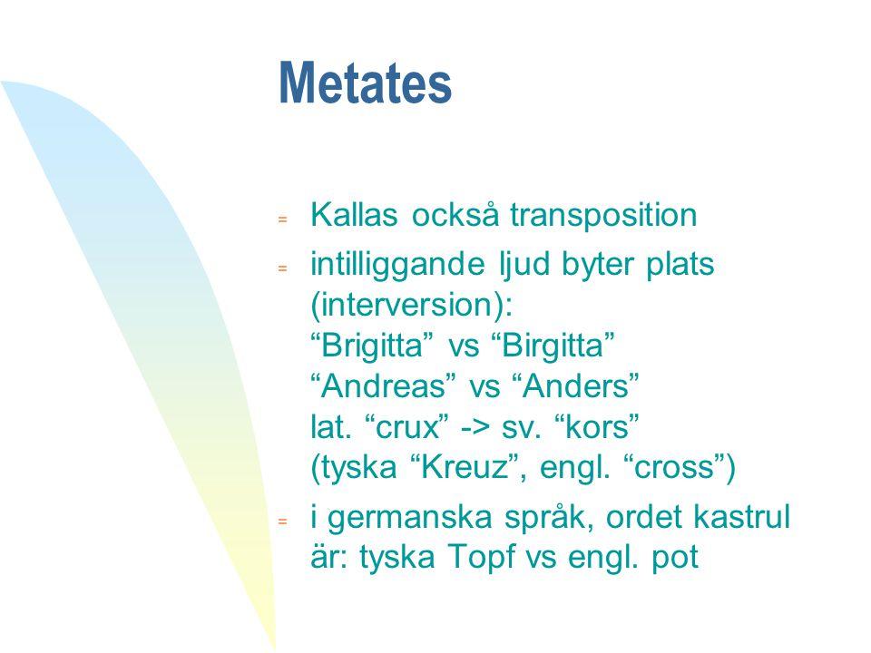 """Metates = Kallas också transposition  intilliggande ljud byter plats (interversion): """"Brigitta"""" vs """"Birgitta"""" """"Andreas"""" vs """"Anders"""" lat. """"crux"""" -> sv"""
