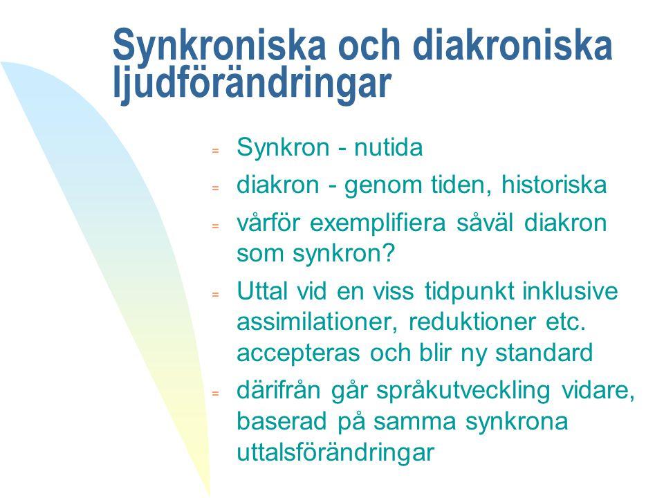 Synkroniska och diakroniska ljudförändringar = Synkron - nutida = diakron - genom tiden, historiska = vårför exemplifiera såväl diakron som synkron? =
