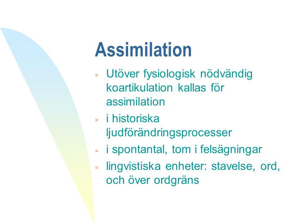 Historiska assimilationer  i latin: improduktiv, intolerant, in. med motsatt egenskap => nasalens artikulationsställe blir samma som i följande ljud, in. blir /im/ i improduktiv = affekt, assimilation, affix, acklimatisera