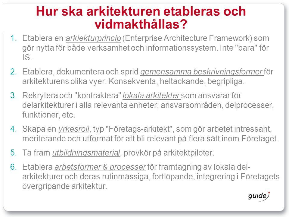 Hur ska arkitekturen etableras och vidmakthållas?  Etablera en arkiekturprincip (Enterprise Architecture Framework) som gör nytta för både verksamhe