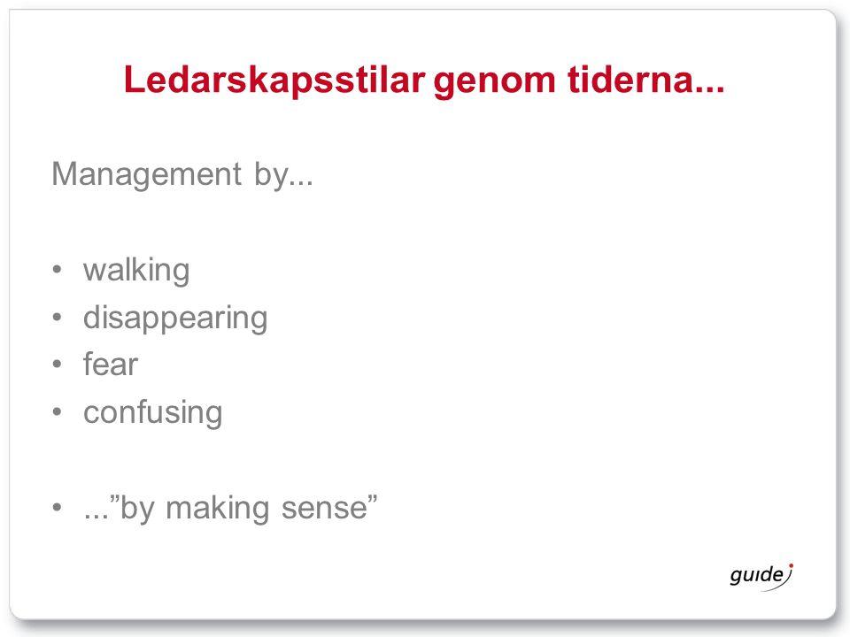 "Ledarskapsstilar genom tiderna... Management by... walking disappearing fear confusing...""by making sense"""