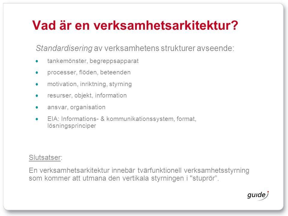 Vad är en verksamhetsarkitektur? Standardisering av verksamhetens strukturer avseende:  tankemönster, begreppsapparat  processer, flöden, beteenden