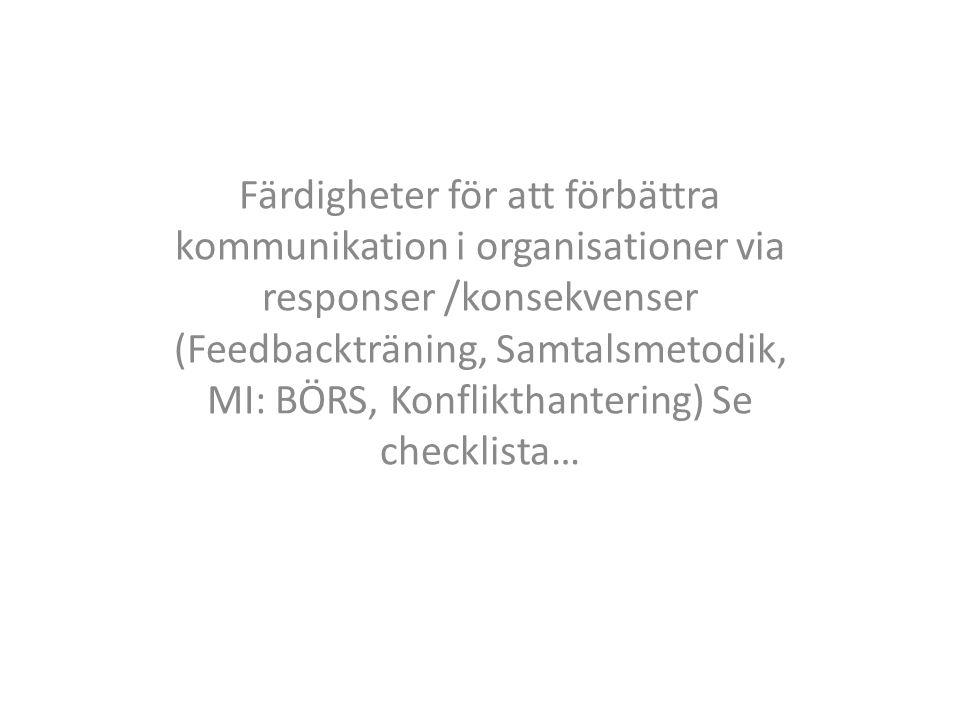 Färdigheter för att förbättra kommunikation i organisationer via responser /konsekvenser (Feedbackträning, Samtalsmetodik, MI: BÖRS, Konflikthantering