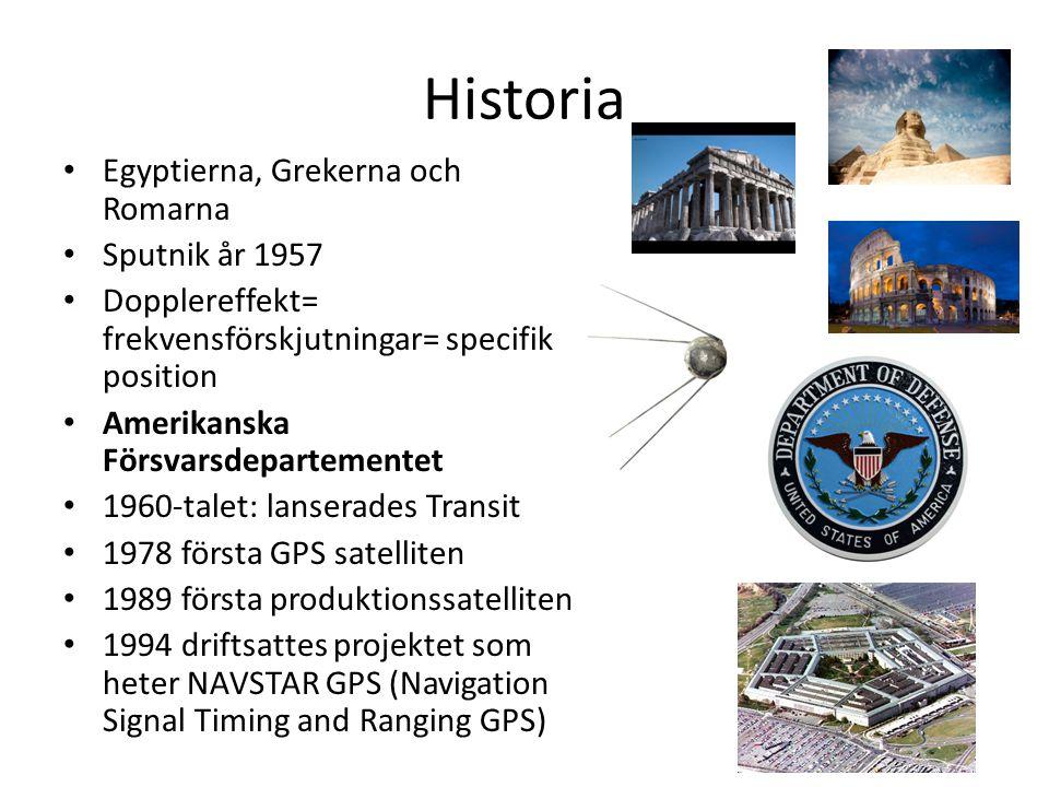 Historia Egyptierna, Grekerna och Romarna Sputnik år 1957 Dopplereffekt= frekvensförskjutningar= specifik position Amerikanska Försvarsdepartementet 1960-talet: lanserades Transit 1978 första GPS satelliten 1989 första produktionssatelliten 1994 driftsattes projektet som heter NAVSTAR GPS (Navigation Signal Timing and Ranging GPS)