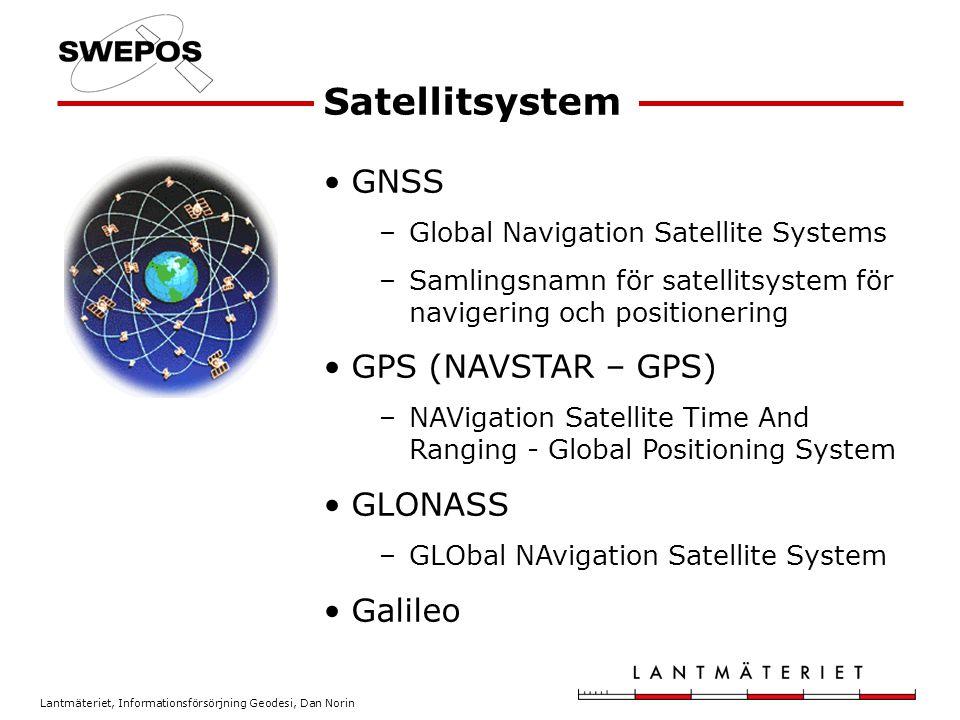 Lantmäteriet, Informationsförsörjning Geodesi, Dan Norin GNSS –Global Navigation Satellite Systems –Samlingsnamn för satellitsystem för navigering och positionering GPS (NAVSTAR – GPS) –NAVigation Satellite Time And Ranging - Global Positioning System GLONASS –GLObal NAvigation Satellite System Galileo Satellitsystem
