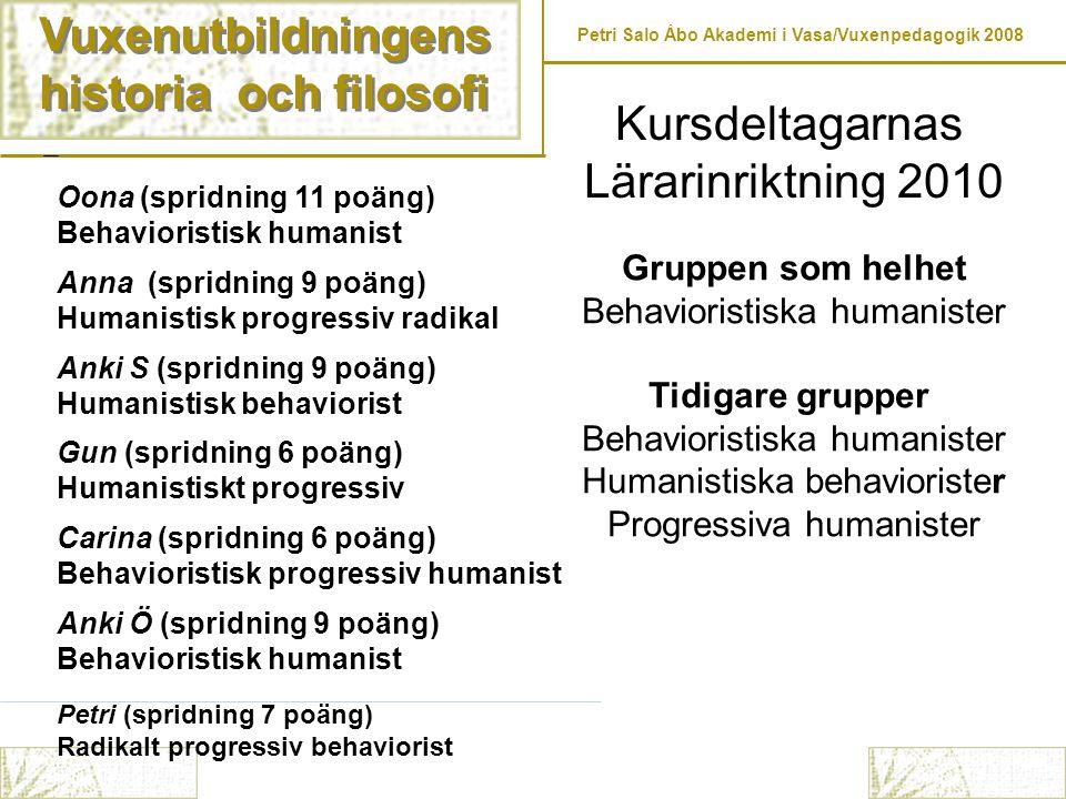 Vuxenutbildningens historia och filosofi Vuxenutbildningens historia och filosofi Petri Salo Åbo Akademi i Vasa/Vuxenpedagogik 2008 Oona (spridning 11