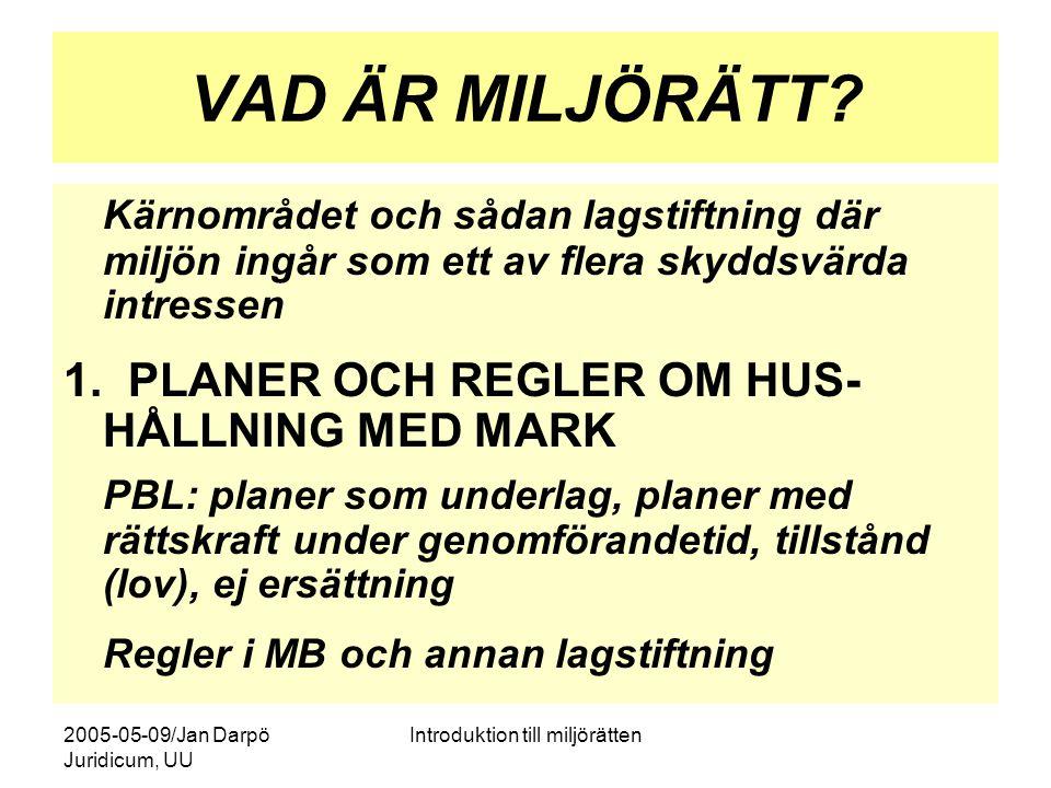 2005-05-09/Jan Darpö Juridicum, UU Introduktion till miljörätten VAD ÄR MILJÖRÄTT? Kärnområdet och sådan lagstiftning där miljön ingår som ett av fler