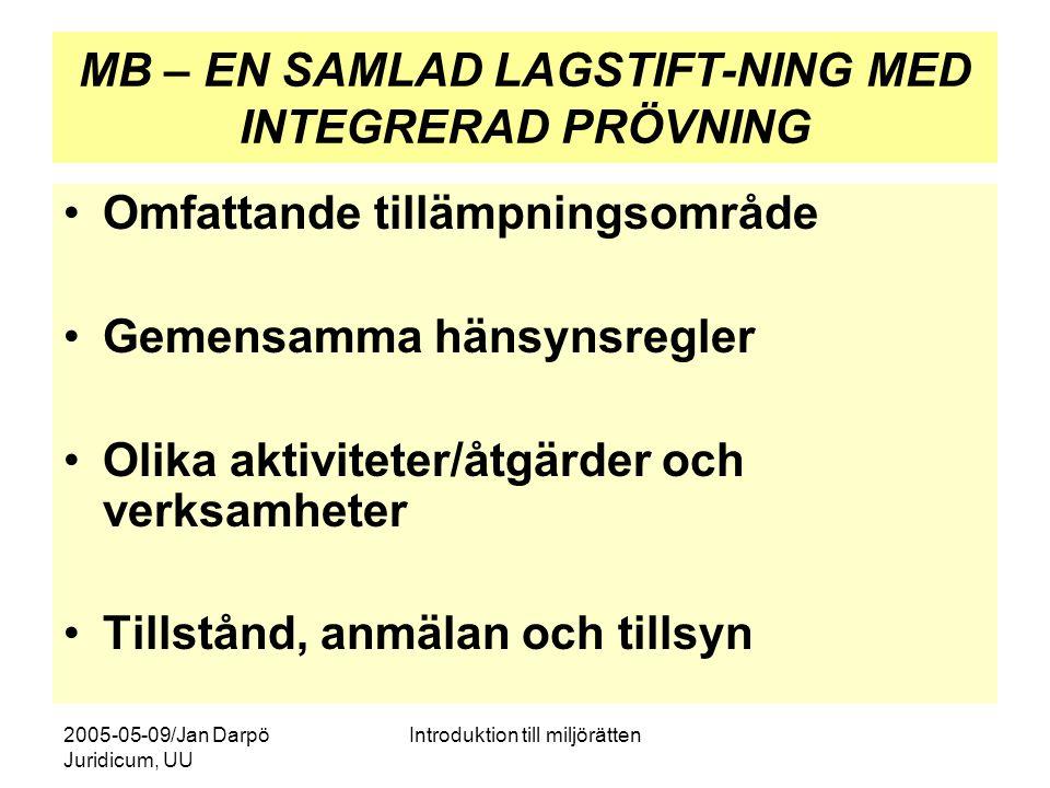 2005-05-09/Jan Darpö Juridicum, UU Introduktion till miljörätten MB – EN SAMLAD LAGSTIFT-NING MED INTEGRERAD PRÖVNING Omfattande tillämpningsområde Ge