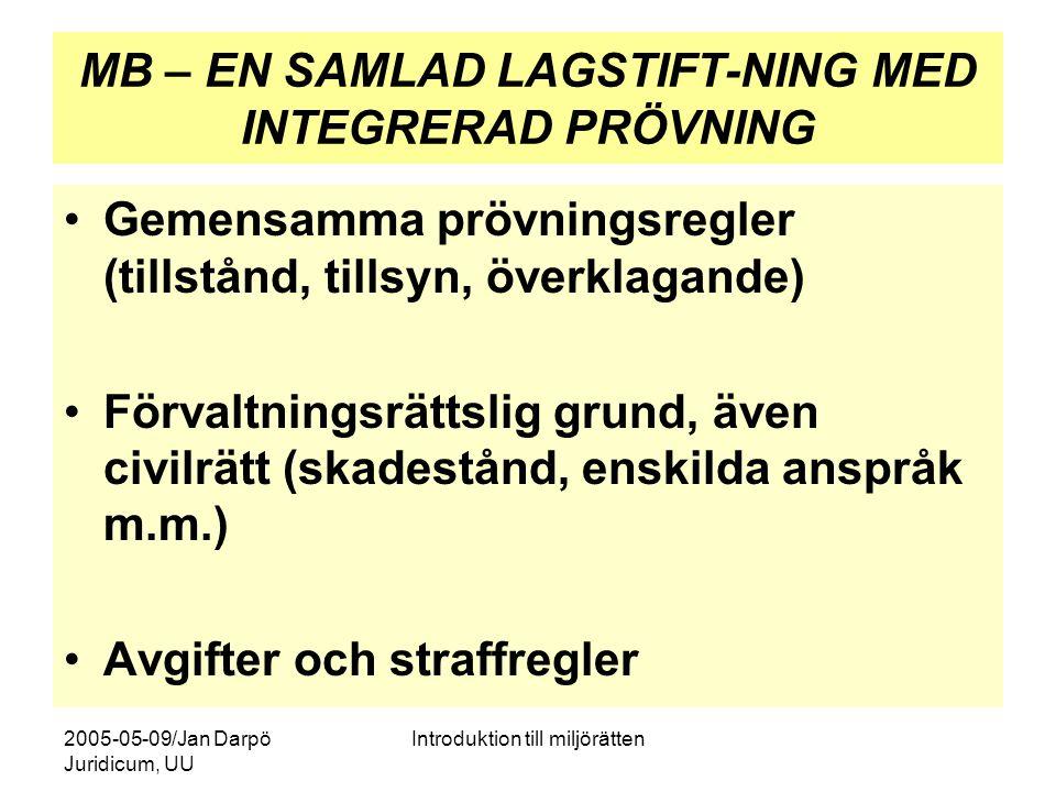 2005-05-09/Jan Darpö Juridicum, UU Introduktion till miljörätten MB – EN SAMLAD LAGSTIFT-NING MED INTEGRERAD PRÖVNING Gemensamma prövningsregler (till