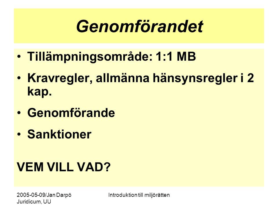 2005-05-09/Jan Darpö Juridicum, UU Introduktion till miljörätten Genomförandet Tillämpningsområde: 1:1 MB Kravregler, allmänna hänsynsregler i 2 kap.